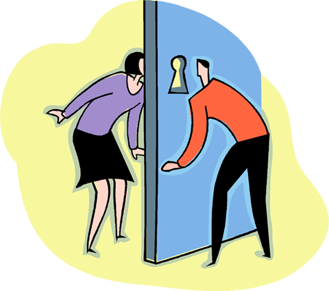 looking through a keyhole at each other Royalty Free Vector Clip Art illustration vc003995