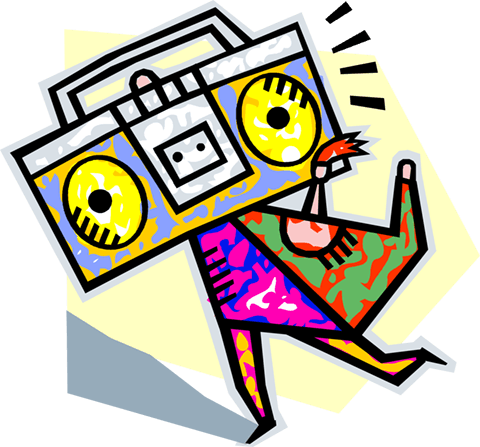 person caring a ghetto blaster Royalty Free Vector Clip Art illustration vc004068