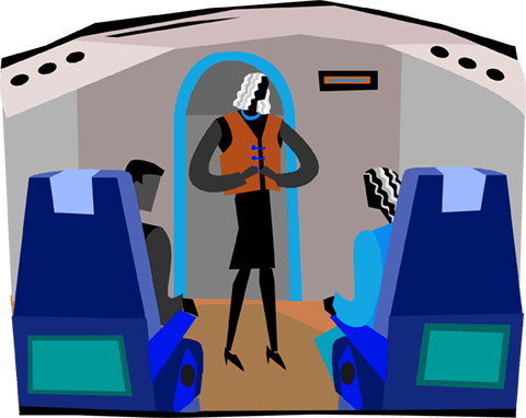 stewardess giving instructions Royalty Free Vector Clip Art illustration vc004102
