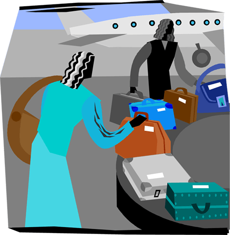 people collecting luggage at airport Royalty Free Vector Clip Art illustration vc004103