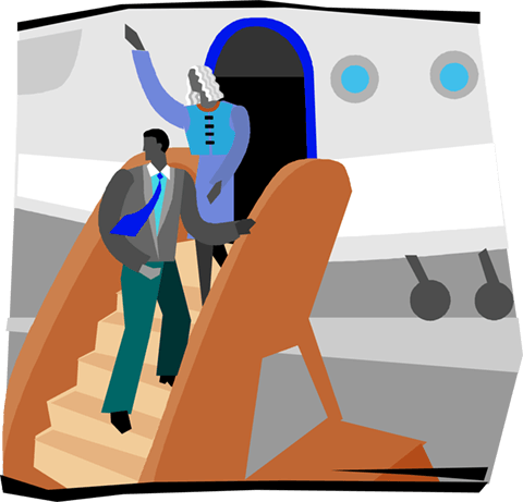 people getting off plane Royalty Free Vector Clip Art illustration vc004105