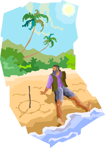 Man stranded on a deserted island Royalty Free Vector Clip Art illustration vc004109