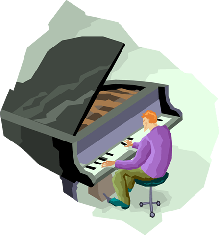 man playing piano Royalty Free Vector Clip Art illustration vc004114