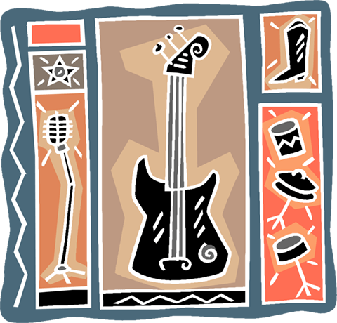 electric guitar with microphone Royalty Free Vector Clip Art illustration vc004126