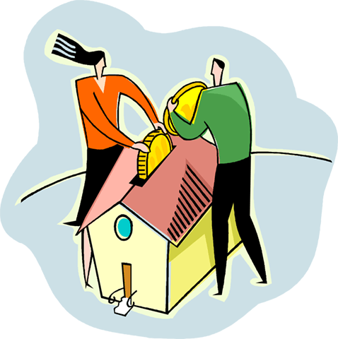 Putting money into the house Royalty Free Vector Clip Art illustration vc004183