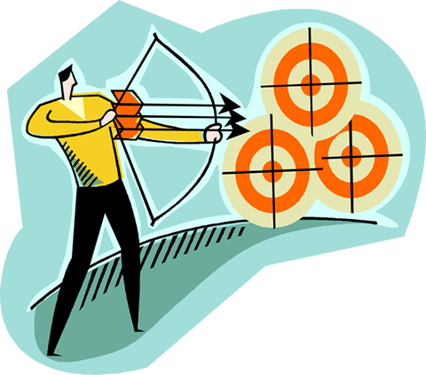 shooting bow & arrow at target Royalty Free Vector Clip Art illustration vc004186