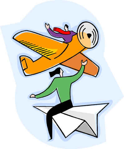 person flying on paper airplane Royalty Free Vector Clip Art illustration vc004187