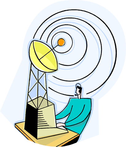 business metaphor, satellite information Royalty Free Vector Clip Art illustration vc004193