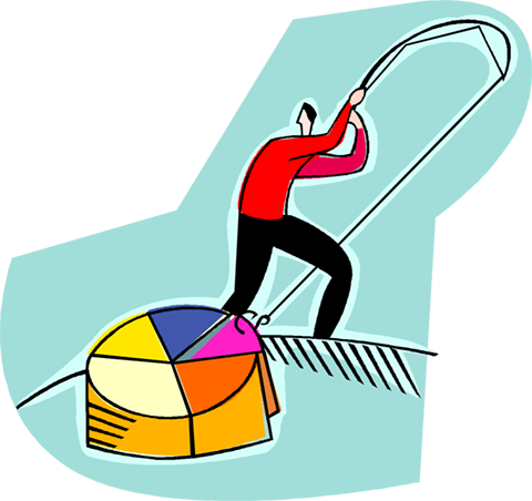 man fishing for his piece of the pie Royalty Free Vector Clip Art illustration vc004198