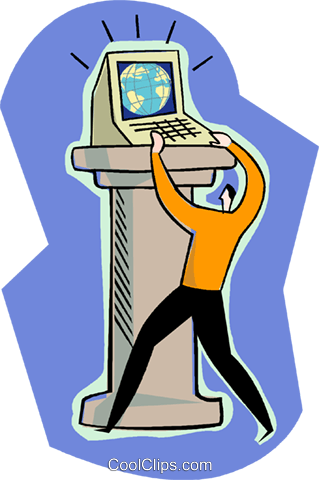 business metaphor, computer on pedestal Royalty Free Vector Clip Art illustration vc004201