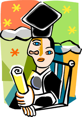 Picassos person graduating Royalty Free Vector Clip Art illustration vc004221
