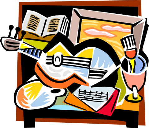 Picassos guitar Royalty Free Vector Clip Art illustration vc004222