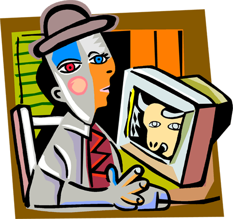 Picassos man checking the stock market Royalty Free Vector Clip Art illustration vc004226