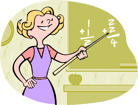 Teacher in math class Royalty Free Vector Clip Art illustration vc004231