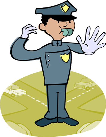 policeman directing traffic Royalty Free Vector Clip Art illustration vc004244