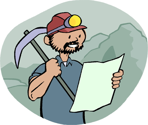 miner looking at plans Royalty Free Vector Clip Art illustration vc004248