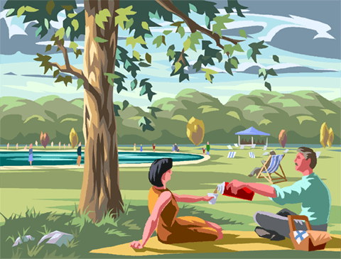 Hyde Park with the Serpentine Lake Royalty Free Vector Clip Art illustration vc004258