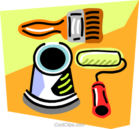 paint roller, paint brush, can of paint Royalty Free Vector Clip Art illustration vc004286