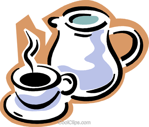 coffee pot with cup of coffee Royalty Free Vector Clip Art illustration vc004312