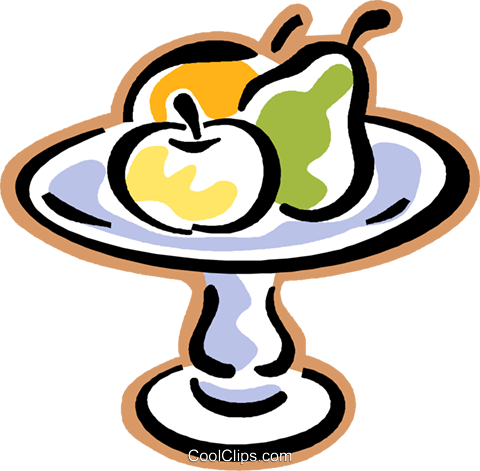 tray of fruit, apple, pear, orange Royalty Free Vector Clip Art illustration vc004319