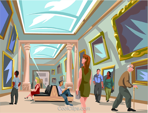 viewing pictures in Louvre art gallery Royalty Free Vector Clip Art illustration vc004334