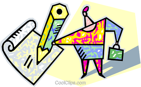person writing with a pencil Royalty Free Vector Clip Art illustration vc004344