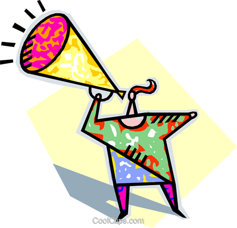 person speaking into megaphone Royalty Free Vector Clip Art illustration vc004353