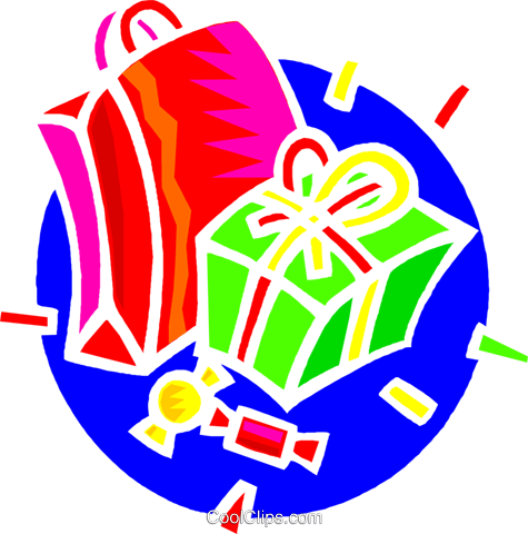 shopping bags, presents Royalty Free Vector Clip Art illustration vc004361