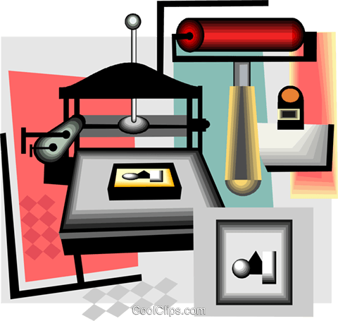 printer press Royalty Free Vector Clip Art illustration vc004370