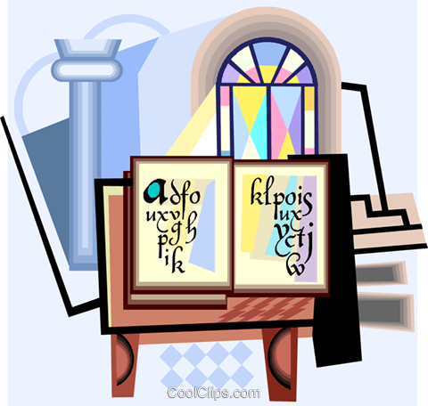 Bible with holy water and stained glass Royalty Free Vector Clip Art illustration vc004372