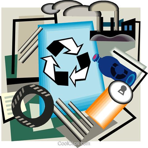 Recycling symbol, industry Royalty Free Vector Clip Art illustration vc004397