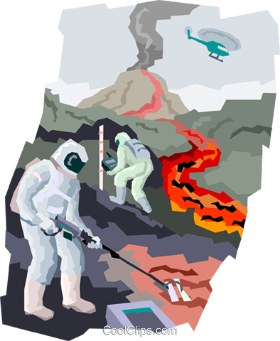 collecting lava samples Royalty Free Vector Clip Art illustration vc004417