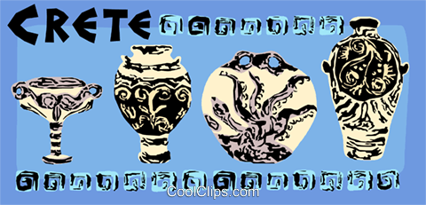 Cretian ancient pottery Royalty Free Vector Clip Art illustration vc004436