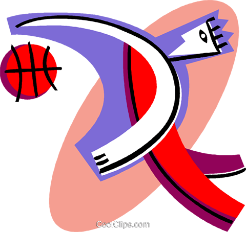person playing basketball Royalty Free Vector Clip Art illustration vc004455