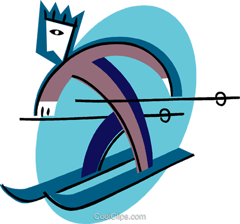 cross country skiing Royalty Free Vector Clip Art illustration vc004461
