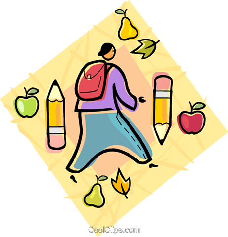 Boy on his way back to school Royalty Free Vector Clip Art illustration vc004464