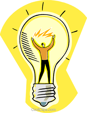 man inside light bulb Royalty Free Vector Clip Art illustration vc004483
