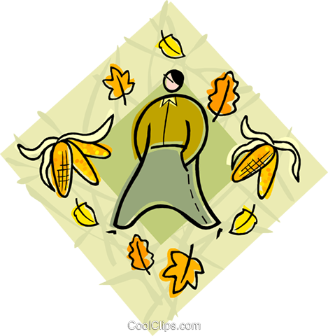 Man walking through fall leaves Royalty Free Vector Clip Art illustration vc004485