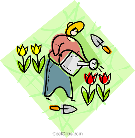 watering flowers Royalty Free Vector Clip Art illustration vc004495
