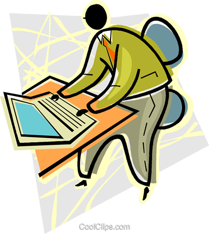 man working at a keyboard Royalty Free Vector Clip Art illustration vc004523