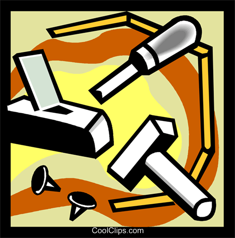 chisel, hammer, nails Royalty Free Vector Clip Art illustration vc004535