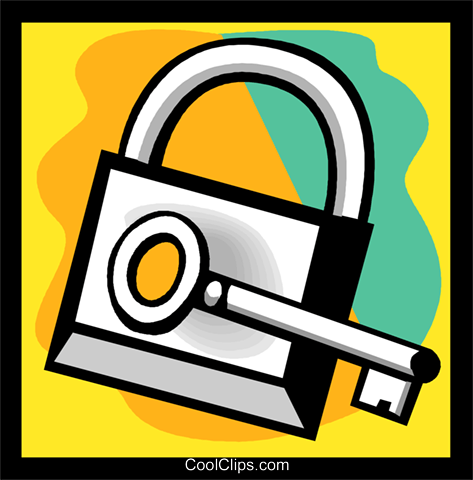 lock and key Royalty Free Vector Clip Art illustration vc004542