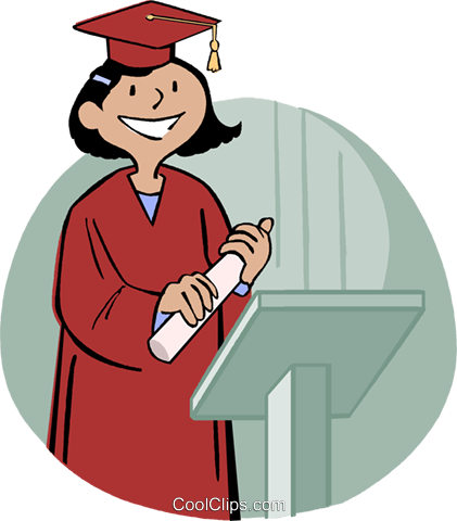 girl receiving diploma Royalty Free Vector Clip Art illustration vc004568