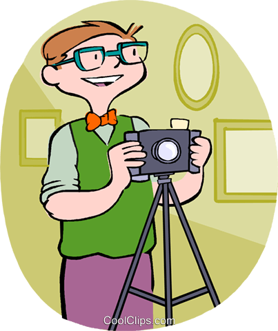 man with a camera Royalty Free Vector Clip Art illustration vc004573