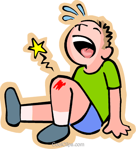Little boy with scraped knee Royalty Free Vector Clip Art illustration vc004585