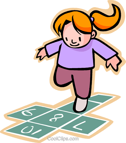 little girl playing hopscotch Royalty Free Vector Clip Art illustration vc004587