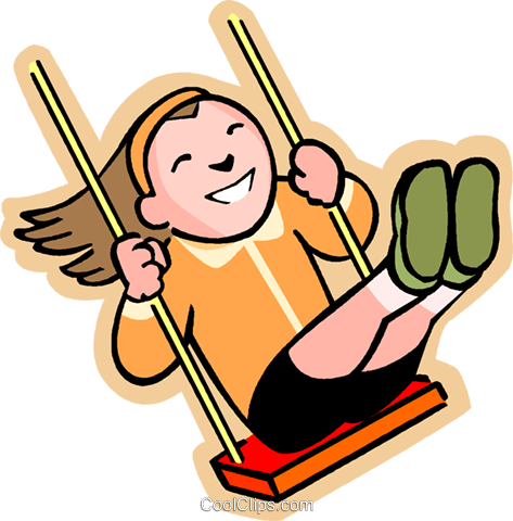 little girl on a swing Royalty Free Vector Clip Art illustration vc004592