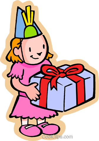 Little girl with birthday gift Royalty Free Vector Clip Art illustration vc004594