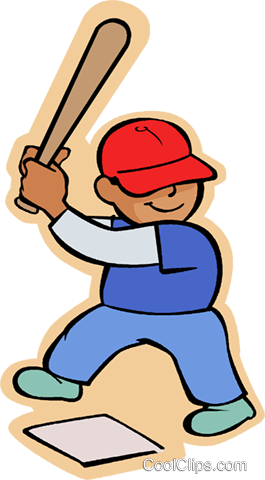 Little boy with baseball bat Royalty Free Vector Clip Art illustration vc004597