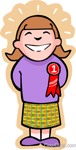 little girl with an award Royalty Free Vector Clip Art illustration vc004604